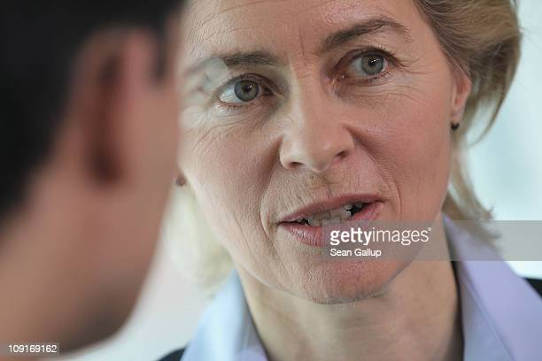 German Minister of Work and Social Issues Ursula von der Leyen arrives for the weekly German government cabinet meeting at the Chancellery on...