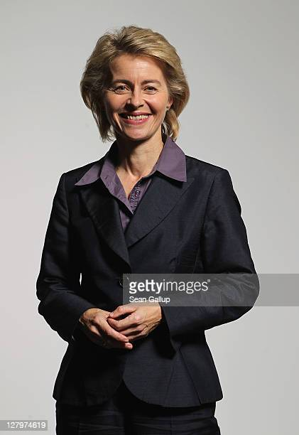 German Minister of Work and Social Issues Ursula von der Leyen poses for a photo on October 4 2011 in Berlin Germany Von der Leyen is Deputy...