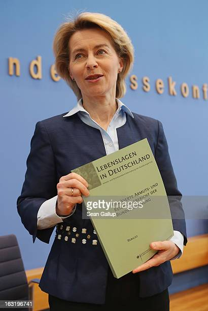 German Minister of Work and Social Issues Ursula von der Leyen presents the '4th Poverty And Wealth Report of the Federal Government' to the media on...