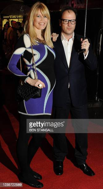 German model and actor Claudia Schiffer and British producer Matthew Vaughn attend the European premiere of the film 'Kick-Ass' in London on March...
