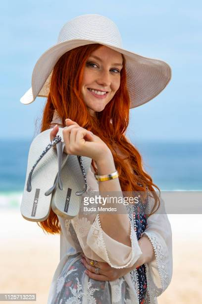 German model and actress Barbara Meier poses during a swimwear shooting at Ipanema Beach on February 18 2019 in Rio de Janeiro Brazil