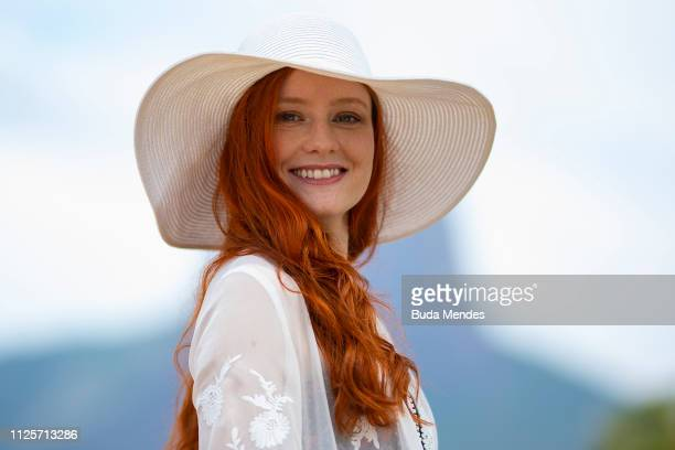 German model and actress Barbara Meier poses during a swimwear shooting at Ipanema Beach on February 18, 2019 in Rio de Janeiro, Brazil.