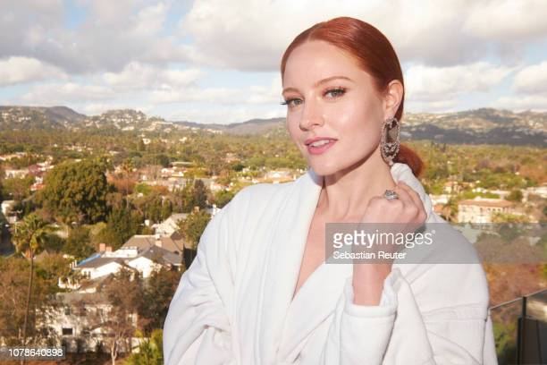 German model and actress Barbara Meier poses on the balcony of her hotel suite ahead of the 76th annual Golden Globe Awards at Waldorf Astoria...