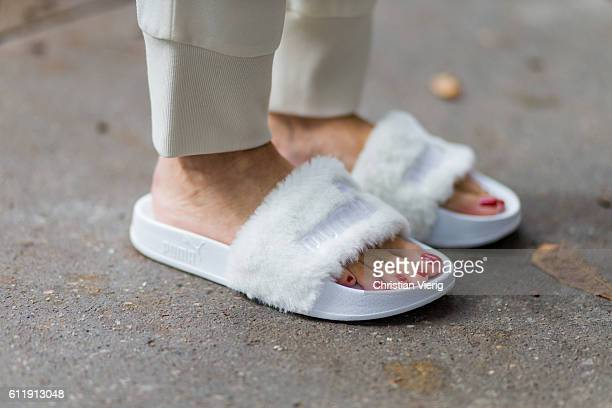 German model and fashion blogger Alexandra Lapp wearing white Puma Fenty by Rihanna shoes on October 1 2016 in Paris France