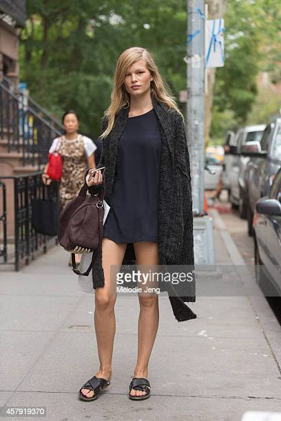 German model Anna Ewers exits the Rodarte show with an Alexander Wang bag on Day 6 of New York Fashion Week Spring/Summer 2015 on September 9 2014 in...