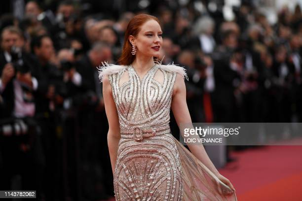 """German model Barbara Meier poses as she arrives for the screening of the film """"The Dead Don't Die"""" during the 72nd edition of the Cannes Film..."""