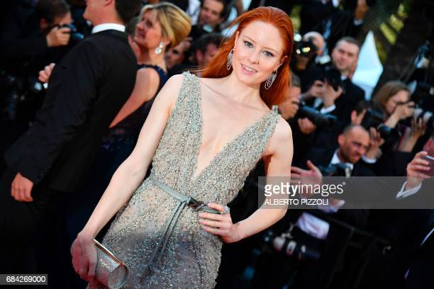 German model Barbara Meier poses as she arrives on May 17 2017 for the screening of the film 'Ismael's Ghosts' during the opening ceremony of the...