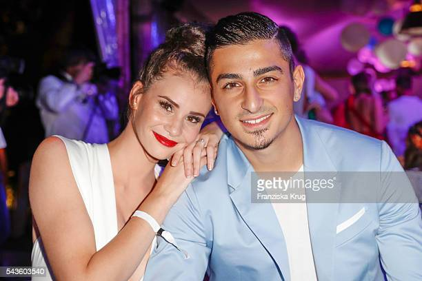German model Betty Taube and the professional footballer Koray Guenter attend the Raffaello Summer Day 2016 to celebrate the 26th anniversary of...