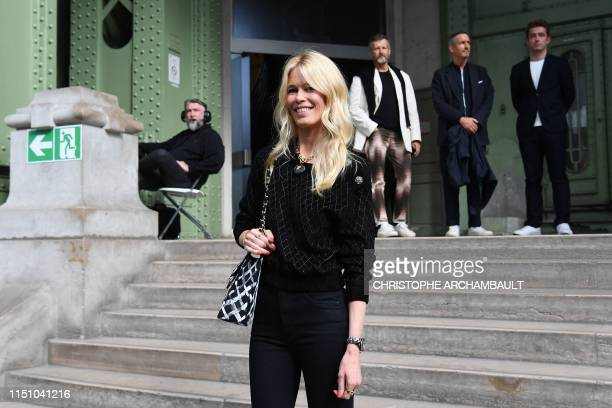 """German model Claudia Schiffer arrives for the """"Karl For Ever"""" event to honour late German fashion designer Karl Lagerfeld at the Grand Palais in..."""
