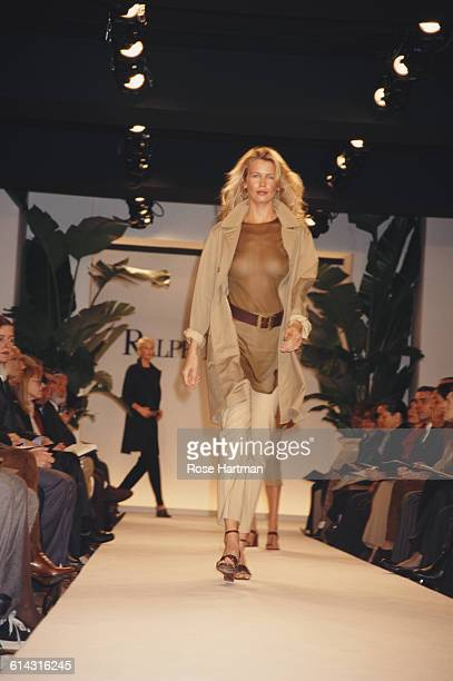 German model Claudia Schiffer at the Ralph Lauren Spring 1997 fashion show New York 30th October 1996