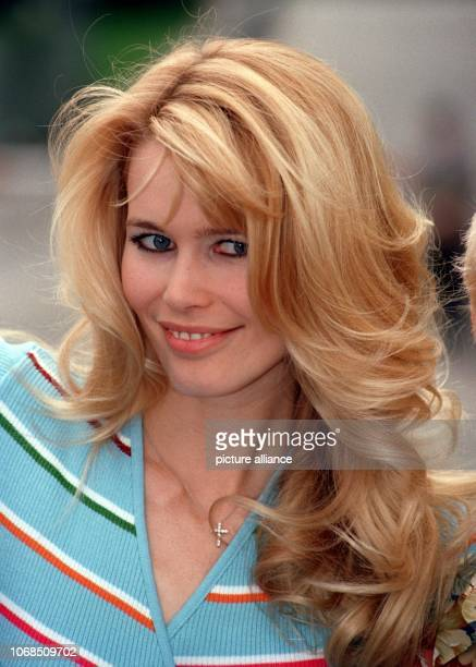 German model Claudia Schiffer was elected as the national symbol figure 'Germania 1996' by visitors of a museum in Berlin photographed on 23 April...