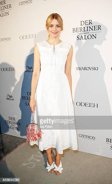 German model Eva Padberg attends the Odeeh defilee during the Der Berliner Mode Salon Spring/Summer 2017 at Berliner Schloss city palace on June 28...