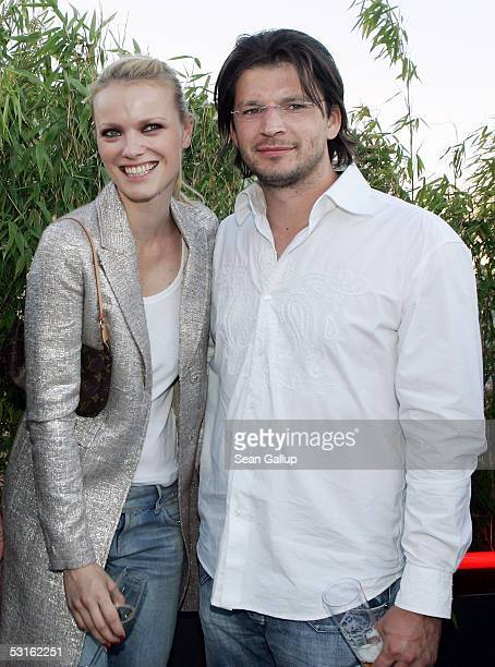 German model Franziska Knuppe and her husband Christian Moestl attend the Bild Summer Party at the Axel Springer publishing house June 28 2005 in...