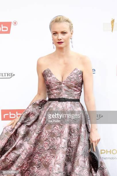 German model Franziska Knuppe attends the Lola German Film Award red carpet at Messe Berlin on April 27 2018 in Berlin Germany