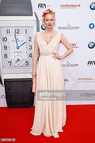 German model Franziska Knuppe wearing a dress by Minx by Eva Lutz during the Lola German Film Award 2016 on May 27 2016 in Berlin Germany