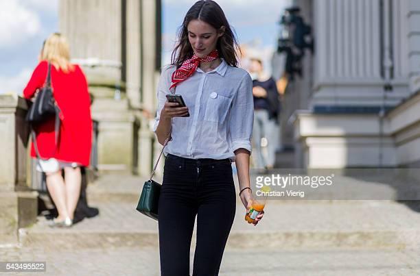 German model Franziska Mueller outside Malaikaraiss during the MercedesBenz Fashion Week Berlin Spring/Summer 2017 on June 28 2016 in Berlin Germany