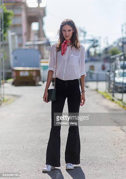 German model Franziska Mueller outside Malaikaraiss during the MercedesBenz Fashion Week Berlin Spring/Summer 2017 on June 28 2016 in Berlin Germany
