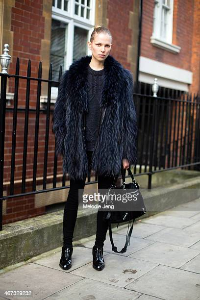 ad28d36629e4 German model Lina Berg exits the JW Anderson show at a Yeomanry house in a  vintage