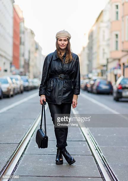 German model Paulina Stepowska wearing a beige beret black leather jacket belt black leather pants black boots and black bag on December 21 2016 in...