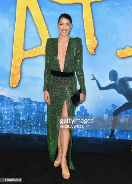 German model Rebecca Mir arrives for the world premiere of Cats at the Alice Tully Hall in New York City on December 16 2019