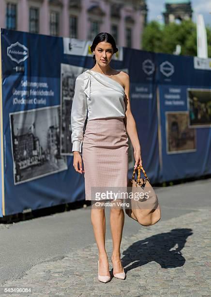 German model Rebecca Mir outside Malaikaraiss during the MercedesBenz Fashion Week Berlin Spring/Summer 2017 on June 28 2016 in Berlin Germany