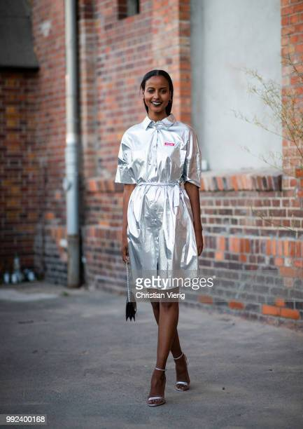 German model Sara Nuru wearing silver dress seen outside Hugo during the Berlin Fashion Week July 2018 on July 5 2018 in Berlin Germany