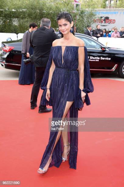 German model Shermine Sharivar attends the Lola German Film Award red carpet at Messe Berlin on April 27 2018 in Berlin Germany