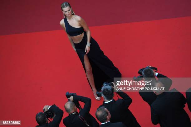 German model Toni Garn poses as she arrives on May 24 2017 for the screening of the film 'The Beguiled' at the 70th edition of the Cannes Film...