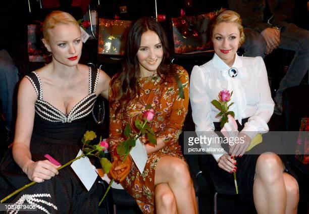 German models Franziska Knuppe Johanna Klum and TV presenter Ruth Moschner attend at the Lena Hoschek show during the MercedesBenz Fashion Week in...