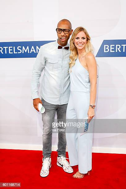 German moderator Amiaz Habtu and german moderator Sandra Kuhn attend the Bertelsmann Summer Party at Bertelsmann Repraesentanz on September 8 2016 in...