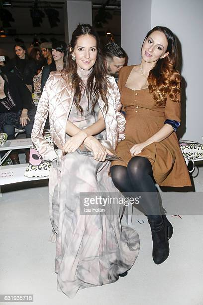 German moderator and singer Johanna Klum and austrian singer Marla Blumenblatt seen at the Lena Hoschek show during the MercedesBenz Fashion Week...