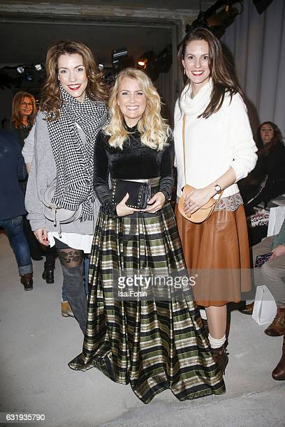 German moderator Annett Moeller german moderator Jennifer Knaeble and german moderator Katrin Wrobel seen at the Lena Hoschek show during the...