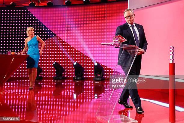 German moderator Barbara Hahlweg and Georg Fahrenschon during the Deutscher Gruenderpreis on July 5, 2016 in Berlin, Germany.