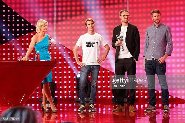 German moderator Barbara Hahlweg and the award winner Paul Bethke, Jakob Berndt and Felix Langguth during the Deutscher Gruenderpreis on July 5, 2016...