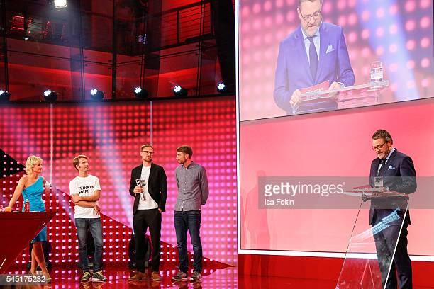 German moderator Barbara Hahlweg and the award winner Paul Bethke, Jakob Berndt, Felix Langguth and Christian Krug, chief edirot Stern magazine...