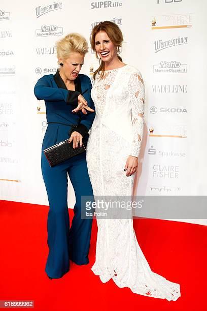German moderator Barbara Schoeneberger and german moderator Mareile Hoeppner attend the Goldene Henne on October 28 2016 in Leipzig Germany