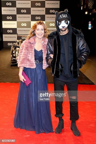 German moderator Bettina Cramer and musician Carlo Waibel alias Cro attend the GQ Men of the year Award 2016 at Komische Oper on November 10 2016 in...