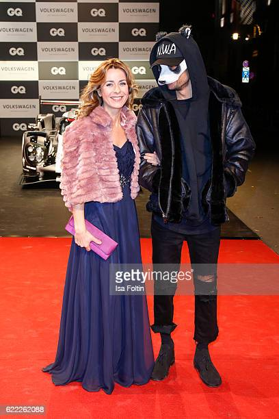 German moderator Bettina Cramer and musician Carlo Waibel alias Cro attend the GQ Men of the year Award 2016 at Komische Oper on November 10 2016 in...