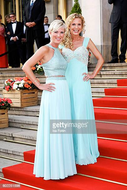 German moderator Kamilla Senjo and german moderator Victoria Herrmann attend the Leipzig Opera Ball 2016 on September 10 2016 in Leipzig Germany