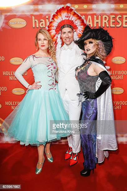 German moderator Katja Burkard Hairfree founder Jens Hilbert and german actress Tina Ruland attend the Hollywood Superhero Fairytale Night hosted by...