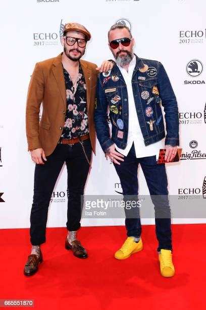 German moderator Manuel Cortez and Tobias Bojko during the Echo award red carpet on April 6 2017 in Berlin Germany