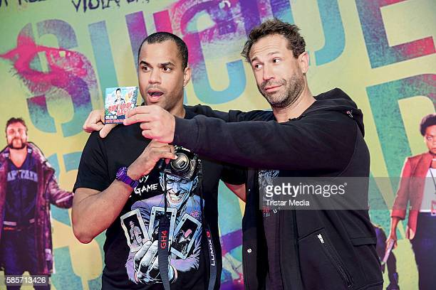 German moderator Patrice Bouedibela and US musician Evil Jared Hasselhoff attend the Suicide Squad Live Event at CineStar on August 3 2016 in Berlin...