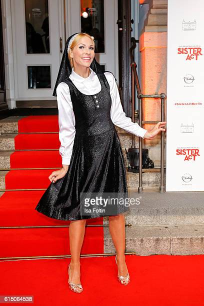 German moderator Sonya Kraus disguised as nun attends the 'Sister Act: The Musical' premiere at Stage Theater on October 16, 2016 in Berlin, Germany.