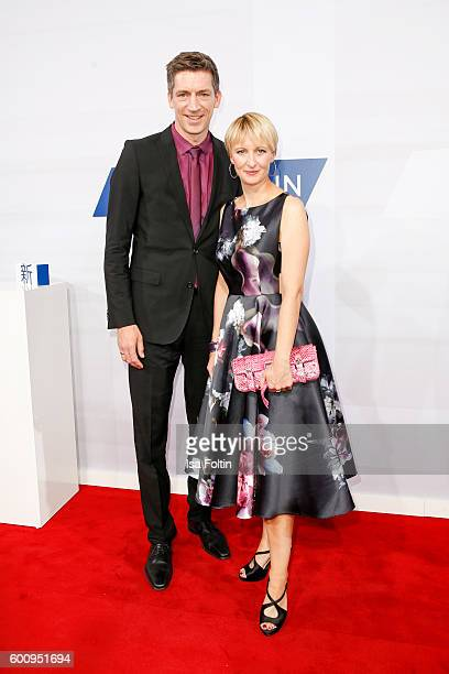 German moderator Steffen Hallaschka and his wife AnneKatrin Hallaschka attend the Bertelsmann Summer Party at Bertelsmann Repraesentanz on September...