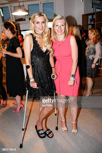 German moderator Verena Kerth and Amorelie founder LeaSophie Cramer attend the Amorelie Wonderland dinner party at their new headquarter on August 19...