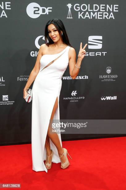 German moderator Verona Pooth arrives for the Goldene Kamera on March 4 2017 in Hamburg Germany