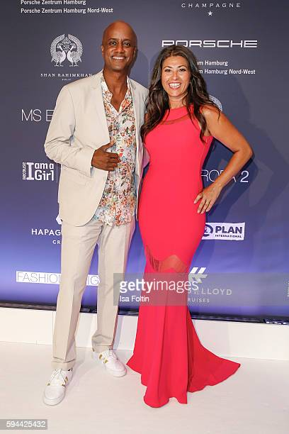 German moderator Yared Dibaba and his wife Fernanda de Sousa Dibaba attend the Fashion2Night event at EUROPA 2 on August 23, 2016 in Hamburg, Germany.