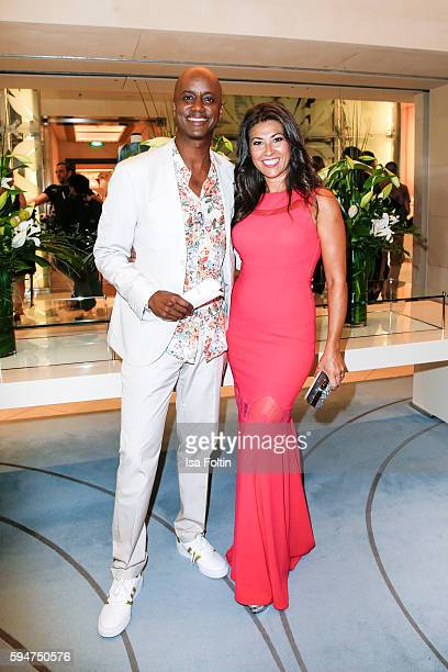 German moderator Yared Dibaba with his wife Sousa Dibaba attend the Fashion2Night event at EUROPA 2 on August 23, 2016 in Hamburg, Germany.