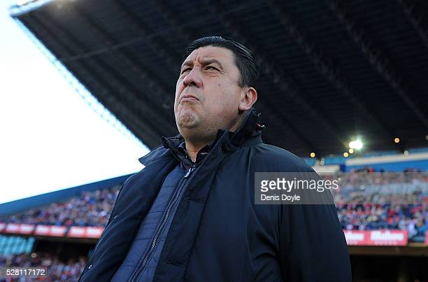 German ''Mono'' Burgos looks on during the La Liga match between Club Atletico de Madrid and Rayo Vallecano at Vicente Calderon Stadium on April 30...