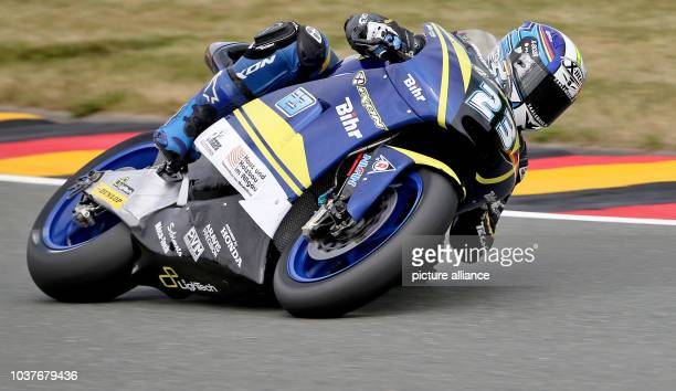 German Moto GP rider Marcel Schrotter of Tech 3Team in action during the qualifying at the Sachsenring racing circuit in HohensteinErnstthal Germany...